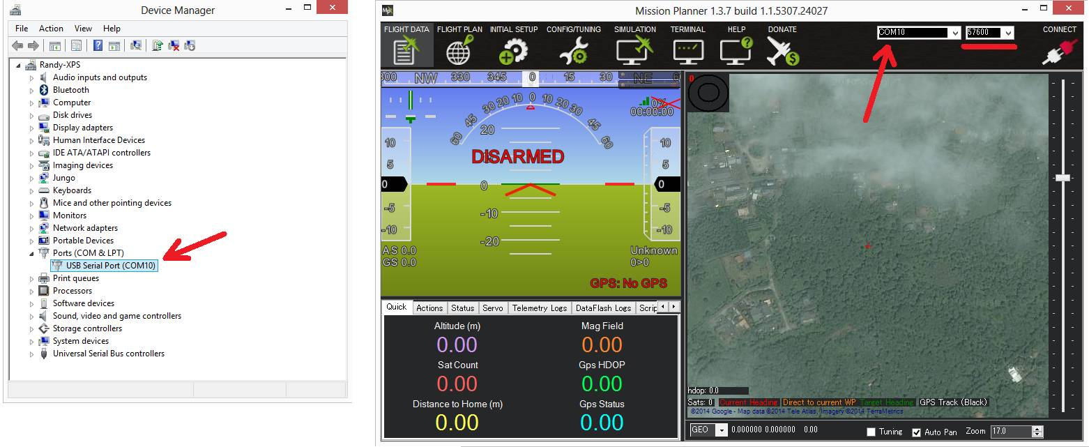 Mission planner mavlink connection