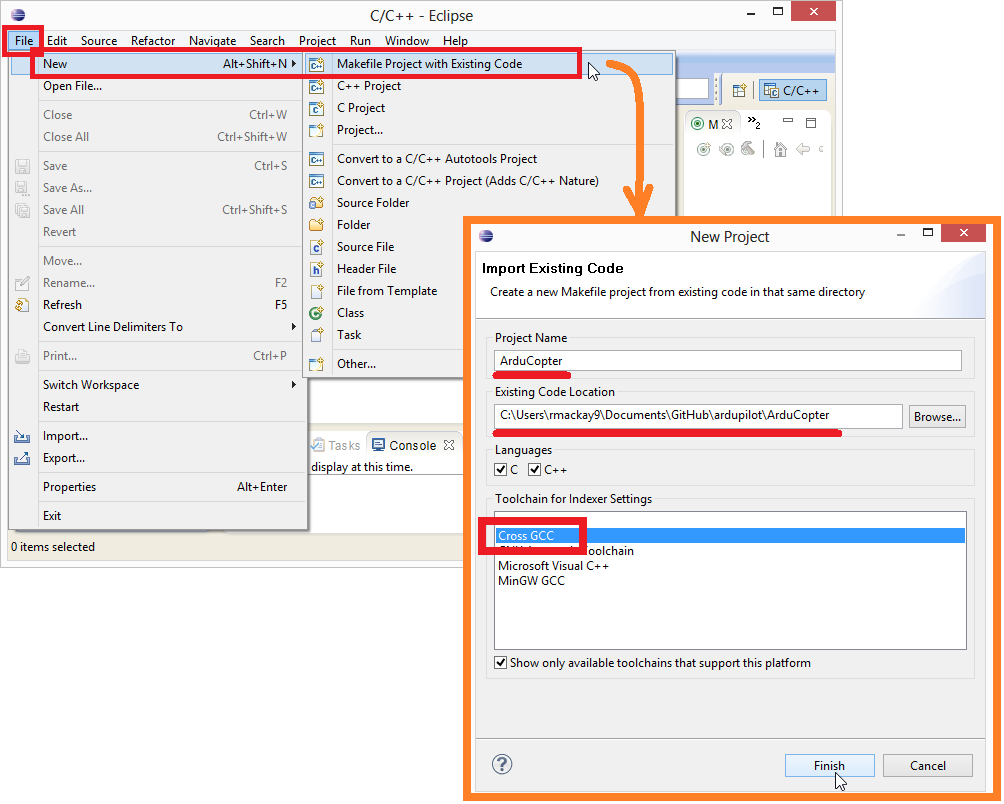 Editing/Building with Eclipse on Windows — Dev documentation