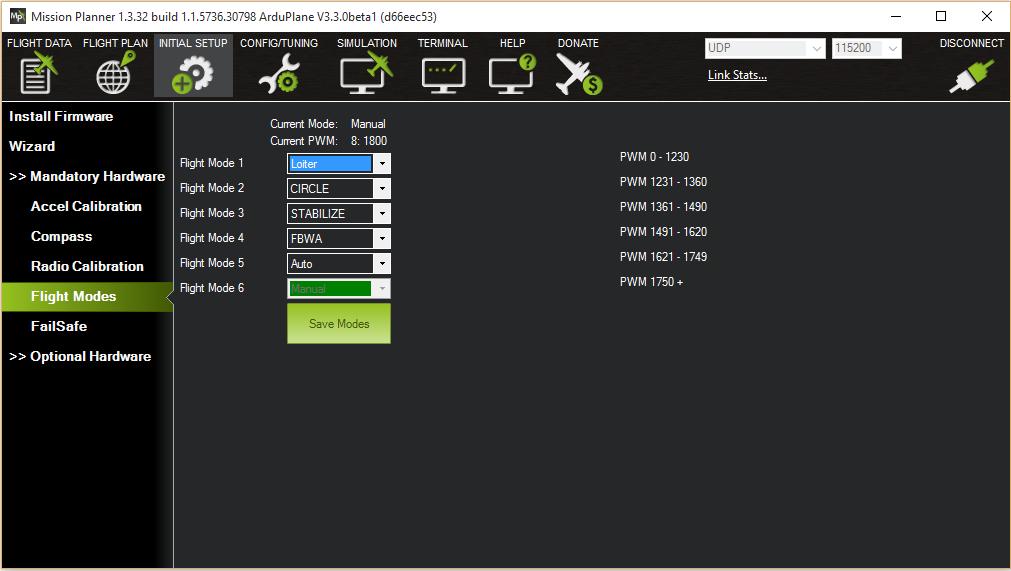 Rc transmitter flight mode configuration plane documentation for For planner