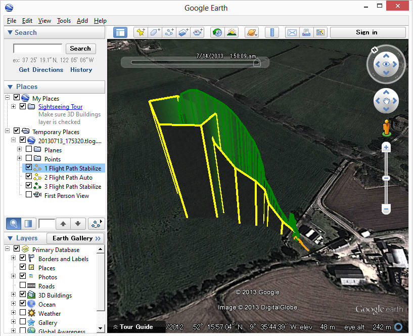 Drawing Lines With Google Earth : Mission planner telemetry logs — plane documentation