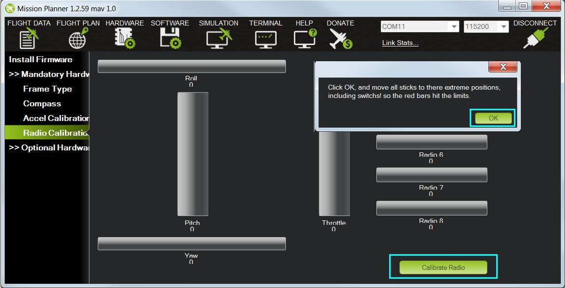 Radio Control Calibration — Plane documentation