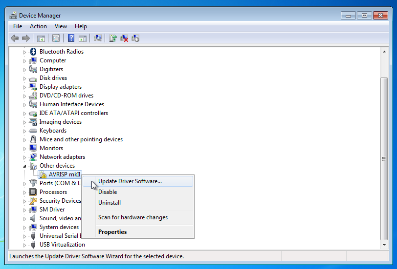 avrisp mkii windows 7 driver